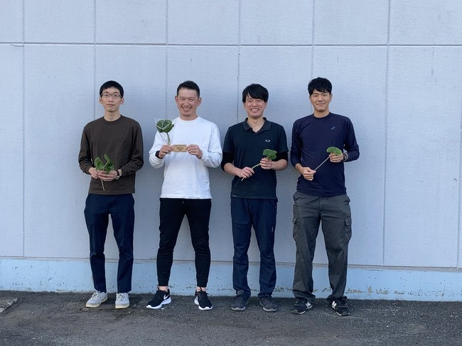 埼玉県加須市にあるインドアファームでまんまる葉わさびを育てる四人衆。