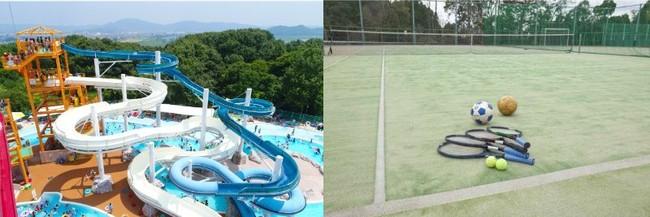 左:レジャープール 右:テニス・フットサルコート