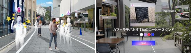 (左)ARVRユーザーのコミュニケーションイメージ  (右)ARVRユーザーが空間に残すコメントイメージ