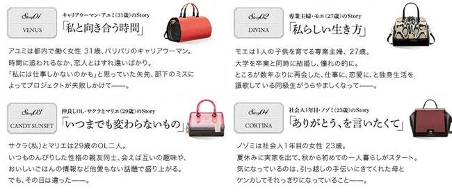 バッグと共に女性が少しだけ変わっていく4つのStory