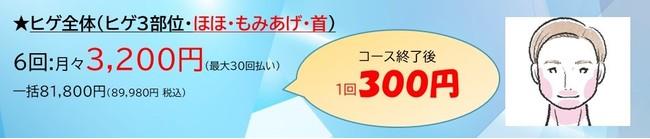 メンズスキンクリニック300円ヒゲ医療脱毛