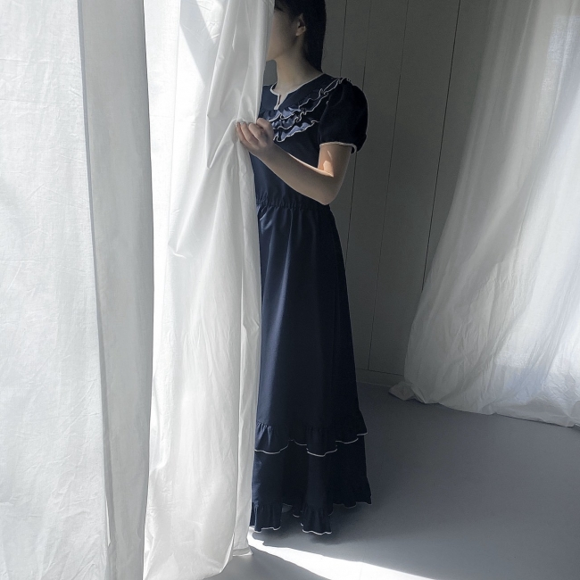 hira-hira Puff sleeve long dress