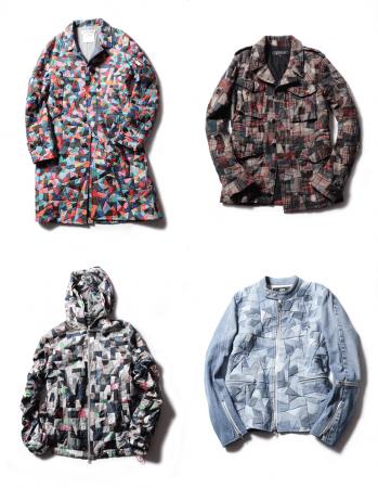 左上:パッチワークコート ¥302,400、右上;パッチワークジャケット ¥270,000、左下:ナイロンパーカー ¥216,000、右下:デニムライダースジャケット ¥162,000