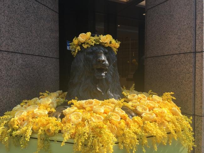 ミモザカラーのライオン像は2月28日までの期間限定