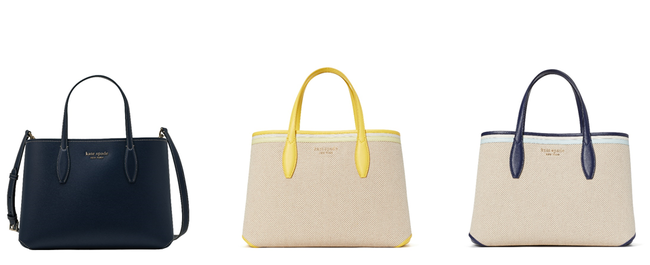 左から dainty bloom medium satchel 49,500 JPY, canvas medium satchel in yellow and blue共に49,500 JPY