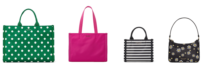 左から:large tote 39,600 JPY, medium tote 33,000 JPY, mini tote 29,700 JPY, small shoulder 25,300 JPY