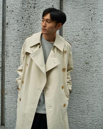 【BRITISH TRENCH COAT】「ブリティッシュトレンチコート」コットン100%:M03-101-40:Size M(Model 178cm)¥137,500(税込)着丈袖丈調整含みます。