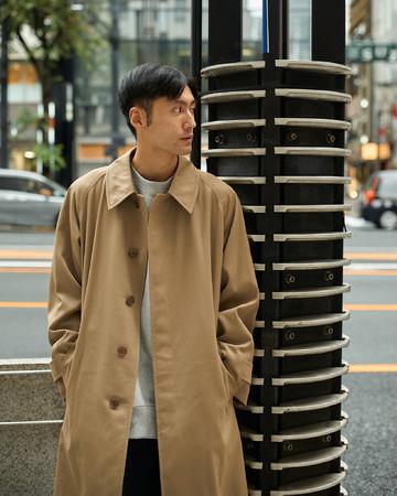 【SINGLE BELTED COAT】「シングルベルテッドコート」ウール65%コットン35%:M02-102-46:Size M(Model 178cm)¥132,000(税込)着丈袖丈調整含みます。