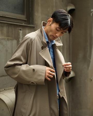 【TIELOCKEN COAT】「タイロッケンコート」ウール65%コットン35%:M04-102-46:Size L(Model 178cm)¥132,000(税込)着丈袖丈調整含みます。