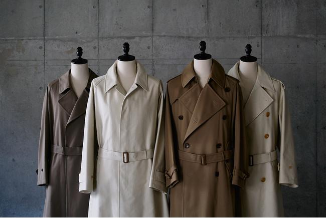 タイロッケン、シングルベルテッド、トレンチ、オフィサーズの4デザイン×2カラーのバリエーションを提案致します。