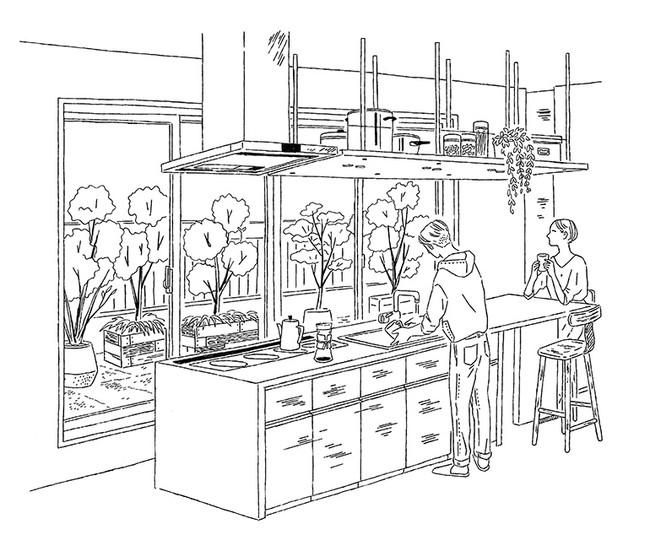 大きなキッチンとテラスを設えた「セカンドリビング」イメージイラスト