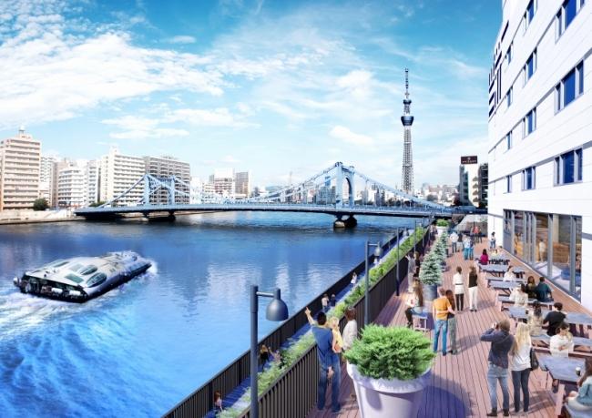 LYURO東京清澄から見える水辺の景色および、かわてらすデッキイメージ