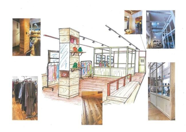 店舗内イメージ。内装にも木工の街加茂の職人が作り上げたオリジナル什器を採用。店内から工場をご覧いただけます。