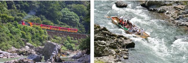 左:嵯峨野トロッコ列車 右:保津川下り