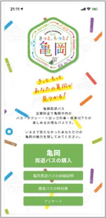 「亀岡周遊パス」アプリ画面