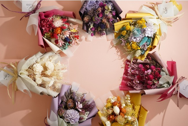 多彩なカラーバリエーションでお作りするドライフラワーの花束【Calon銀座店プレスリリース】