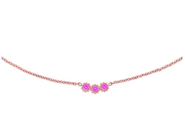 「ミミローズ」ネックレス PG×ピンクサファイア  税抜価格 ¥230,000 (日本限定商品)