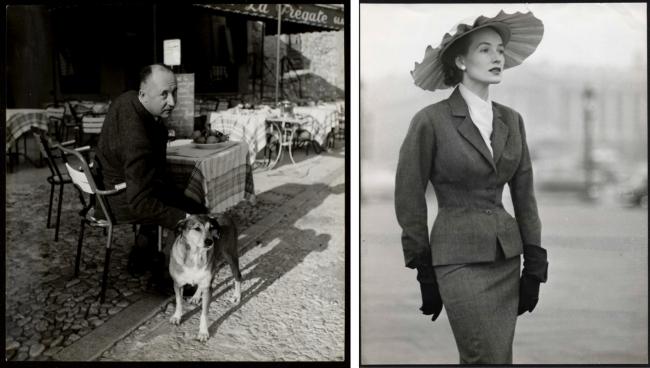 左:クリスチャン・ディオールと愛犬のボビー。(C)AGIP Bridgeman Images  右:1953春夏 オートクチュール コレクションより、「ボビー」と呼ばれたスーツ。(C)Association WILLY MAYWALD ADAGP 2020