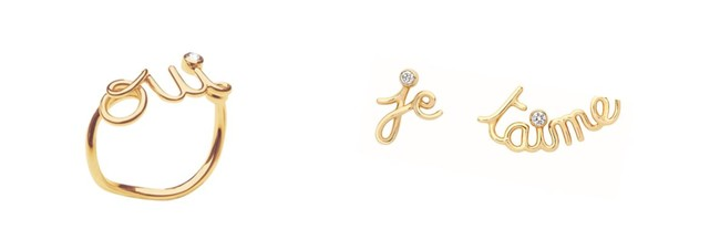 """Oui"" リング ¥112,000 、""Je t'aime"" ピアス ¥192,000 (税抜価格)"