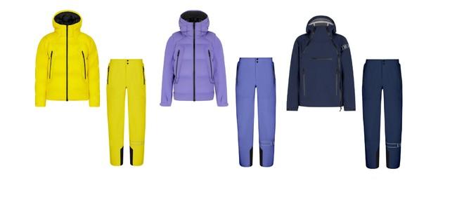展開例 アウター 左から:ダウンジャケット ¥600,000、ダウンベスト(袖部分着脱可) ¥520,000、パーカ ¥470,000  パンツ 各¥330,000 (いずれも税抜価格)