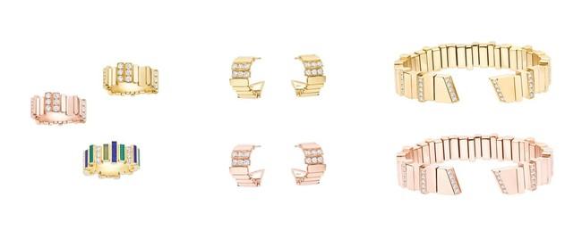 リング:ピングゴールド、ホワイトゴールド 各 ¥1,155,000 イエローゴールドベース ¥1,705,000/イヤリング:各 ¥1,100,000/ブレスレット:各 ¥3,410,000 (いずれも税込予定価格)