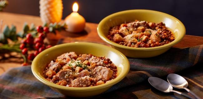 厚切り豚ロースとレンズ豆のスープ煮