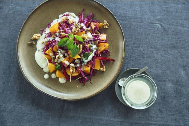 ▲共同開発したサラダKit Oisix 「柿とビーツのサラダヨーグルトソース添え」完成イメージ