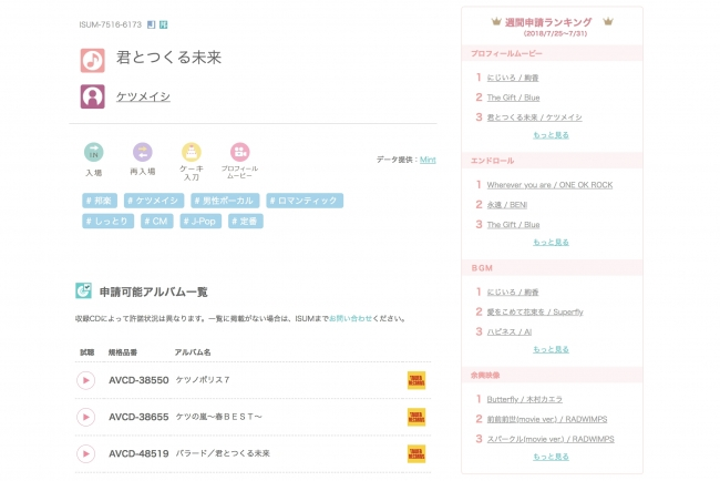 日本で唯一の ブライダルで適法利用できる市販楽曲リスト 本日より試聴