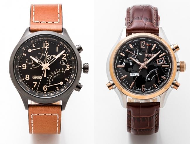 「Timex」 人気モデルのIQレーシングフライバック(左)など9,999円でご用意