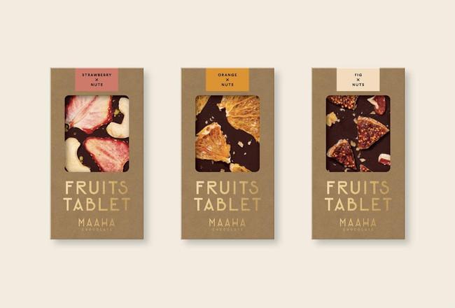 ドライフルーツチョコレート (ストロベリー、オレンジ、イチジク) 各1,100円(税込み)