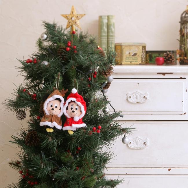 ディズニーキャラクター ちょっこりさん ボールチェーン付きポンチョ ミッキー&ミニークリスマスセット