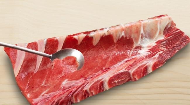 スプーンで削りながら食べる「本マグロ中落ち」