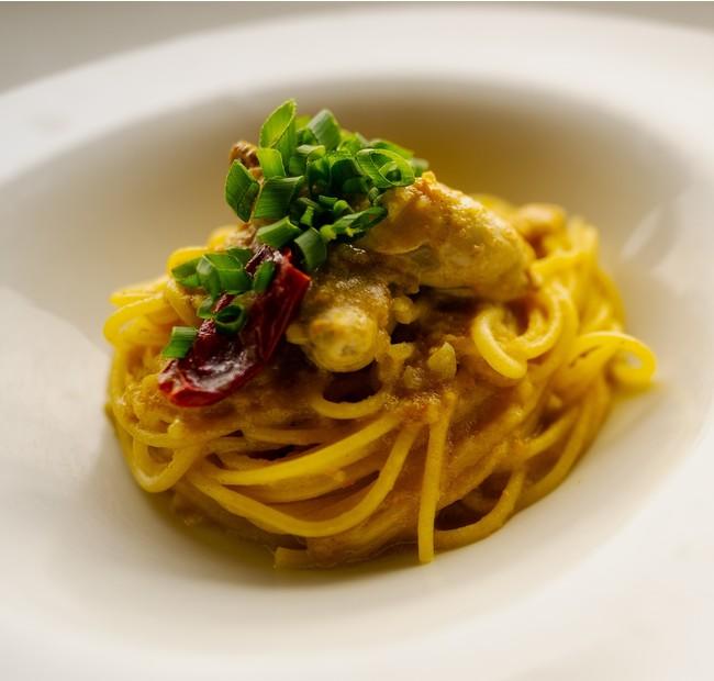牡蠣とカニ味噌の和風パスタ