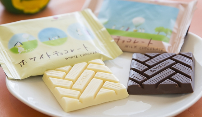 六花亭製菓株式会社製造のミルクチョコとホワイトチョコの2種類。4枚入り各550円(税込)