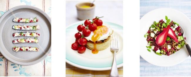 『レイチェル・クーのキッチンノート おいしい旅レシピ』より。マテ貝のザジキとざくろ添え(左)、じゃがいものクランペットとメープルマスタード風味のガモンステーキ(中央)、洋梨の酢漬けとレンズ豆、ゴルゴンゾーラのサラダ (右)。(C)David Loftus