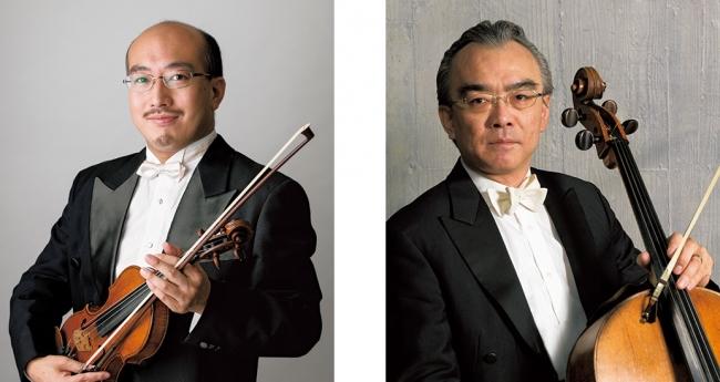 左)ヴァイオリニスト・戸澤哲夫さん、右)チェリスト・藤森亮一さん