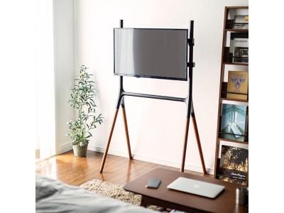木製脚仕様で木の温かみを感じながら使用できるテレビスタンドを10月9日発売