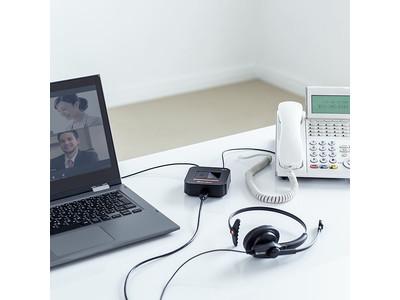パソコンも電話機も1つのUSBヘッドセットで使える電話切替アダプタを6月2日発売