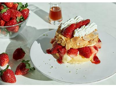 """スフレパンケーキ専門店「FLIPPER'S」のストロベリーフェア 1月15日""""いちごの日""""より3か月連続新登場!第1弾は「とちおとめ」使用、いちごミルフィーユ仕立てのパンケーキ"""