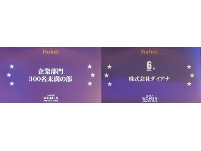Forbes JAPAN WOMEN AWARD 2018『企業部門・300名未満の部』受賞!