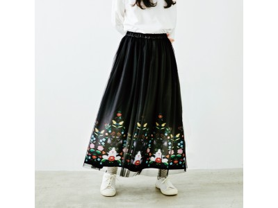 チュールの影から猫がちらり♪ハチワレ猫とお花の華やかロングスカートが『フェリシモ猫部(TM)』から新登場