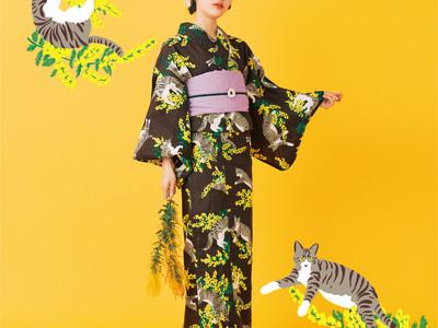 「フェリシモ猫部(TM)」オリジナル浴衣が今年も登場。キジ白猫とミモザが華やかな猫まみれデザイン。