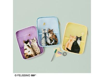 """窓を開けて網戸にすると外を眺めに猫が集まる""""猫あるある""""シーンを再現したメッシュファイルポーチが「フェリシモ猫部(TM)」から新登場"""