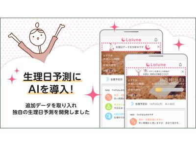 登録会員数700万人超え!生理日・排卵日が予測できるスマートフォンアプリ『ラルーン』が生理日予測にAIを導入!