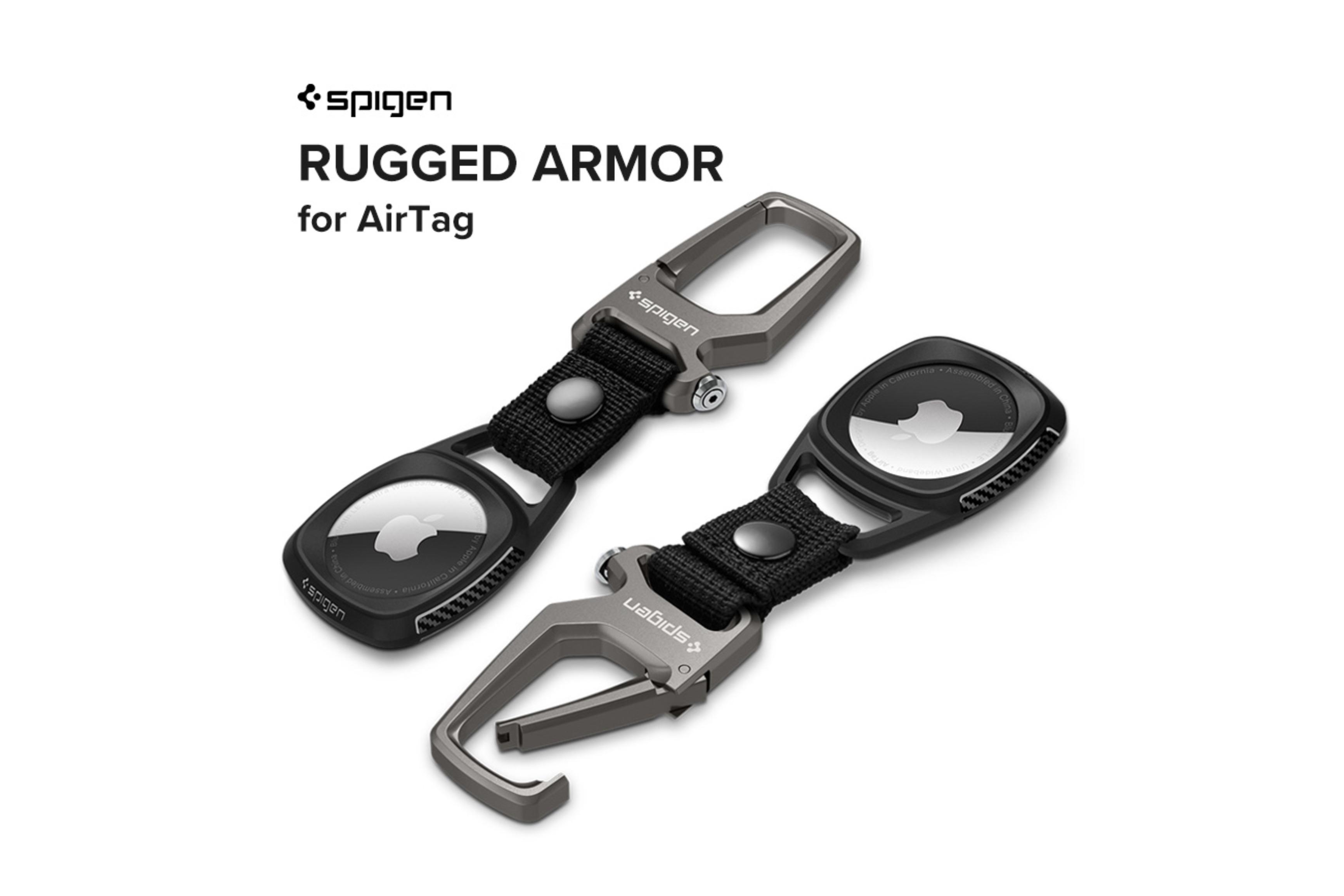 Spigen、栓抜きとしても使えるカラビナ付きAirTag用耐衝撃ケース「ラギッドアーマー」を発売