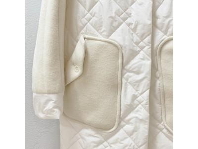年末年始のお出かけシーンにも活躍!晴れやかで遊び心ある異素材MIX中綿キルティングコート