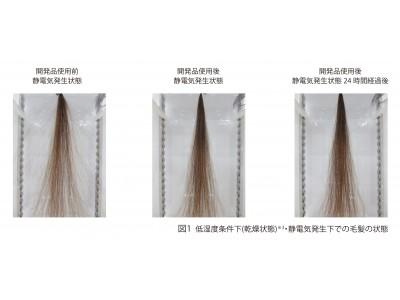 低湿度下(乾燥状態)での静電気による毛髪の広がり抑制効果を確認