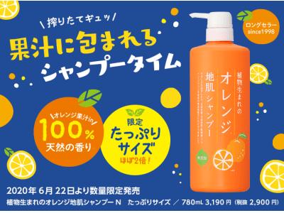 【毎年大好評!】通販人気No.1シャンプー「植物生まれのオレンジ地肌シャンプーN」の限定たっぷりサイズが今年も6/22に登場!