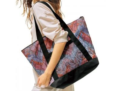アスレジャースタイルにピッタリのRanan限定デザイン!ファスナー付き「<adidas>限定!リーフ柄ビッグトートバッグ」~アウトドアやスポーツシーンに便利な大容量~