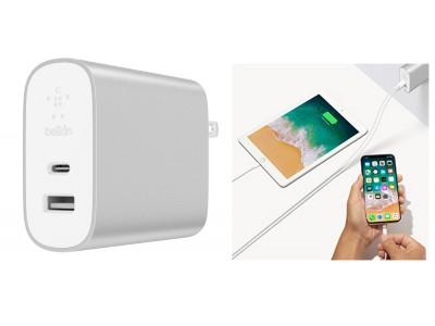 【Belkin】コンパクトサイズでも合計39Wのパワフル給電!PD対応の2ポート高速USB充電器『BOOST↑CHARGE(TM) USB充電器(27W USB-C(TM) + 12W USB-A)』